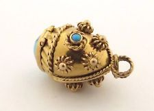 Vintage 18 kt Gold Ornate 3 Dimensional Pill Box Charm w/Natural Turquoise Beads