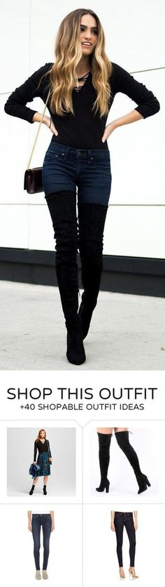 #winter #fashion / Black Top / Navy Skinny Jeans / Black OTK Boots