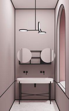 Parisian Apartment by Crosby Studios Amazing apartment interior design Apartment Interior Design, Bathroom Interior Design, Decor Interior Design, Interior Decorating, Restroom Design, Lobby Interior, Decorating Ideas, Modern Bathroom, Small Bathroom
