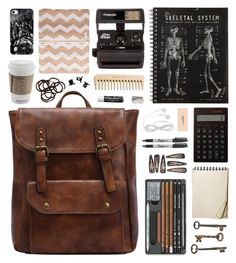 """Autumn Backpack"" by charcharr ❤ liked on Polyvore featuring Jayson Home, Muji, Sharpie, Polaroid, Chapstick, H&M, Fall, backpack, brown and autumn"