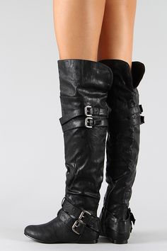 Buckle Slouchy Thigh High Boot