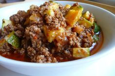 Zucchini and Ground Beef Casserole Recipes--I tried this tonite, and it was reallllly surprisingly yummy. Because I'm eating a low-carb diet, I put my family's portion over noodles and just ate mine  on its own.  I added some Southwest seasoning to the salsa, and served each portion with a dollop of sour cream. Yum!!