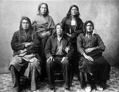 Nez Perce men, posed before transport to the Indian Territories, probably taken in Montana,1877