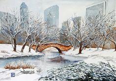 """Neve a Central Park N.Y.""acquerello 35x51 di Lorenza Pasquali Paintings www.lorenzapasquali.it Copyright © Lorenza Pasquali —"