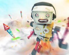 Kard-Bot and Fireworks illustration