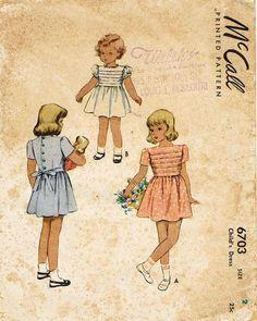1940s Vintage McCall Sewing Pattern 6703 Toddler Girls Tucked Dress Size 2 21B - Vintage4me2