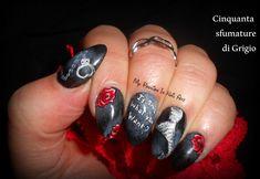 Fifty Shades Of Grey nails - tutorial nail art 50 sfumature di grigio #fiftyshadesofgrey #50sfumaturedigrigio