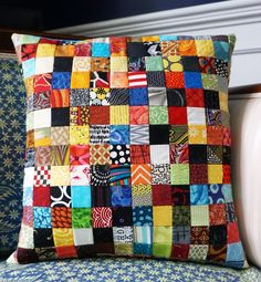 Make Postage Stamp Patchwork in no time with this quick patchwork tip! Turn your tiny patchwork squares into a pillow, baby quilt, or other project.