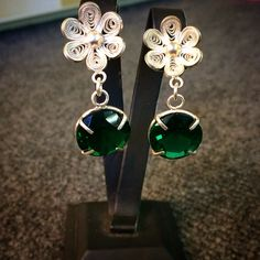 Zircon & silver filigree earrings. Made in Kukula Design Atelier