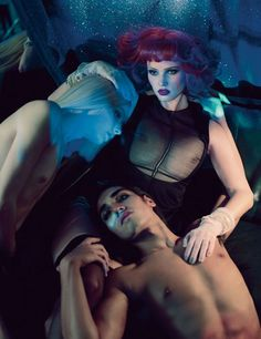Paolo Roversi shoots Lara Stone, Willy Cartier, and Andrej Pejic for the December 2011 issue of W Magazine.