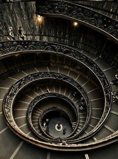Amazing Gothic Spiral Staircase At 'The Vatican Museum' In Vatican City, Italy
