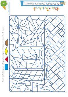 Coloriage magique 7 - les trapèzes et autres formes - Tête à modeler