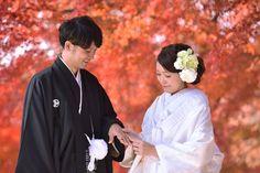 紅葉で前撮り和装奈良ロケの新緑写真