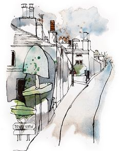 Fantastic topiary on Windermere Road Pen And Watercolor, Watercolor Landscape, Watercolor Paintings, Illustration Pen And Ink, City Drawing, Pen And Wash, Water Drawing, Sketch A Day, Sketch Inspiration