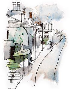 "65 харесвания, 4 коментара – Lynda Gray (@lyndajgray1) в Instagram: ""Fantastic topiary on Windermere Road#sketchbook #lineandwash #watercolor #sketch #kendal#lyndagray"""