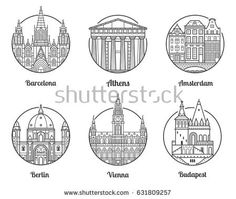 Main Europe cities icons including London, Rome, Prague, Istanbul, Copenhagen and Paris. Travel destinations icon set with famous european landmarks and tourist attractions in line art design. Travel Icon, Travel Style, Istanbul, Berlin, City Icon, Amsterdam City, London, Packing Tips For Travel, Illustrations