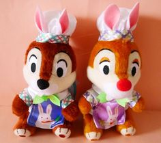 2016 Tokyo Disneyland Disney Easter Chip and Dale plush chain badge Japan New #Disney