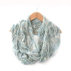 Infinity Scarf , hand knit , hand dyed in Waterworld