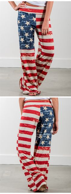 American Flag Printed Wide Leg Pants