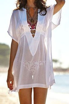 White Short Sleeve V-neck Sexy Beach Dress