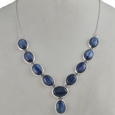 KYANITE 925 SOLID STERLING SILVER NEW STYLE FANCY NECKLACE 35.93g NK0032 #Handmade #NECKLACE