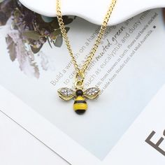 Cartoon Cute Bee Necklace now available exclusive available & exclusive price. so Hurry up &Get it Fast. Pretty Necklaces, Silver Necklaces, Gold Necklace, Bumble Bee Necklace, Yellow Pendants, Cute Bee, Necklace Designs, Gold Pendant, 925 Silver