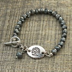 Black and grey tree bracelet Norwegian moonstone semiprecious stone beads, silver, 7 1/2 inches long $26 by Laurel Moon Jewelry