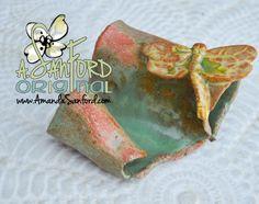 Mississippi Pottery Dragonfly Business Card Holder Pottery Ceramic Eyeglass Soap Green Seafoam