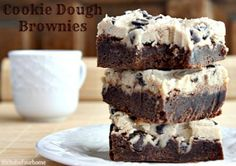 Cookie Dough Brownies A thick fudgey brownie topped with cookie dough frosting!