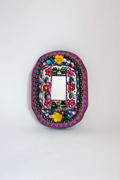 Tin mirror from Mexico on wood plaque / Mexican by TheVirginRose, $32.00