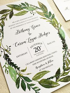 Watercolor Greenery Wreath Shower Invitation - An elegant range of garden greens hand painted with sprigs of rosemary.
