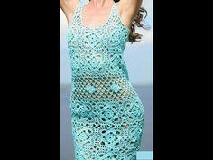 Vestido Azul verde Calado a crochet - YouTube