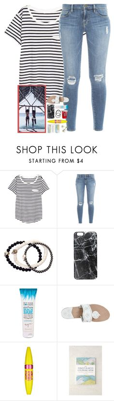 """i need the ""things i never got to say book"" hbu?"" by shannaolo ❤ liked on Polyvore featuring H&M, Frame Denim, Duchess of Malfi, Casetify, Jack Rogers, Maybelline and Therapy"