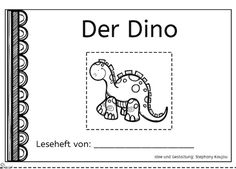 Der Dino - Ein Leseklebeheft, das das Leseverständnis und die Feinmotorik trainiert.
