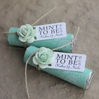 Mint wedding favors, mint wrapped with mint to be tags https://www.etsy.com/listing/225704427/mint-wedding-favors-set-of-24-mint-rolls