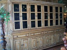 Rustic Bone Cabinet From India Dining Furniture, Rustic Furniture, Colonial, Medieval, Peruvian Textiles, Interiores Design, Nice Things, Rustic Style, Lodges