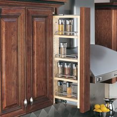 Buy the Rev-A-Shelf Natural Wood Direct. Shop for the Rev-A-Shelf Natural Wood 432 Series Tall Wall Filler Pull Out Organizer with Adjustable Shelves and save. Kitchen Wall Cabinets, Kitchen Cabinet Drawers, Upper Cabinets, Base Cabinets, Wood Cabinets, Kitchen Storage, Spice Cabinets, Kim's Kitchen, Maple Kitchen