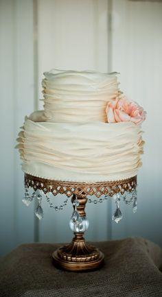 Ruffle Wedding Cake on Chandelier Cake Stand