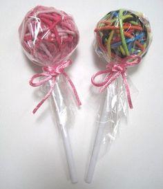 Unique Birthday Party Favor: Rubberband ponytail Lollipops