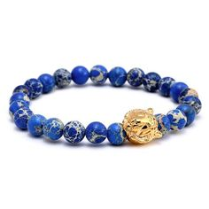 Tiger Head Charm, Blue Emperor Stone Beads Bracelet