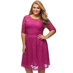 Plus Size Dress - Pretty Lace Bodycon    A pretty and flattering lace dress, the perfect piece for your wardrobe, the lace dress comes in the color of the season, it features o-neckline and three-quarter sleeves length.  The swing shape finishing on the knee creates a feminine A-line silhouette. available just XL    Size  XL