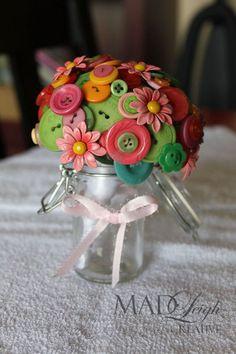Small Unique Non Floral Arrangement. Metal Flowers And Button Bouquet Spring Palette