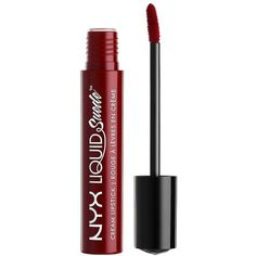 Charlotte Russe NYX Cherry Skies Liquid Suede Cream Lipstick (9.18 AUD) ❤ liked on Polyvore featuring beauty products, makeup, lip makeup, lipstick, dark red and charlotte russe