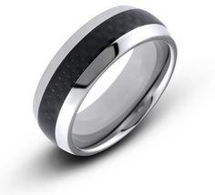 8MM Men's Titanium Dome Ring Wedding Band With Black Carbon Fiber Inlay