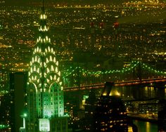 New York's Art Deco Chrysler Building lit up in green for St. Patrick's Day. It was briefly New York's tallest building before the Empire State Building was completed (the two were constructed at the same time).