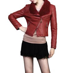 2012 Fall and Winter New Arrivals Red Rur Lapel Short Style Slim Leather Jacket,Wendybox Faux Leather Jackets, Slim, Fashion Outfits, Red, Inspiration, Clothes, Fall, Winter, Style
