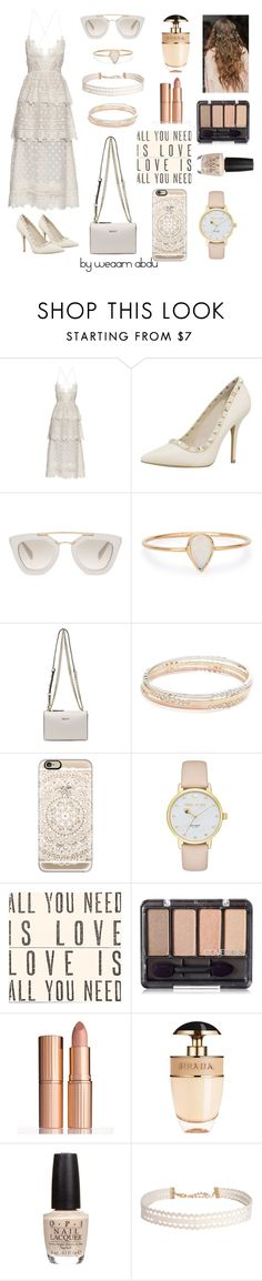 """""""Lace Dress"""" by weaam-abdu ❤ liked on Polyvore featuring self-portrait, Prada, Catbird, DKNY, Kate Spade, Casetify, Sugarboo Designs, Charlotte Tilbury, OPI and Humble Chic"""