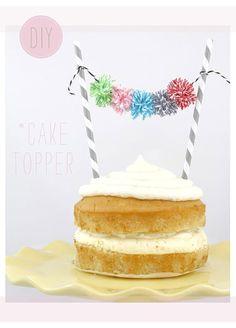 Ideas bakers twine: pompones cake topper para adornar tarta