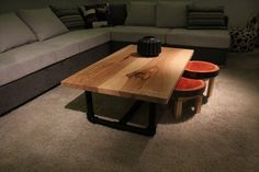 Industrial Solid Oak Coffee Table/High End Sofa Table Table/ Custom Made/ Handmade/ Pipes Base/ Tree Trunk Stools
