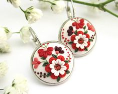 Red Passion - Custom Made Floral Earrings